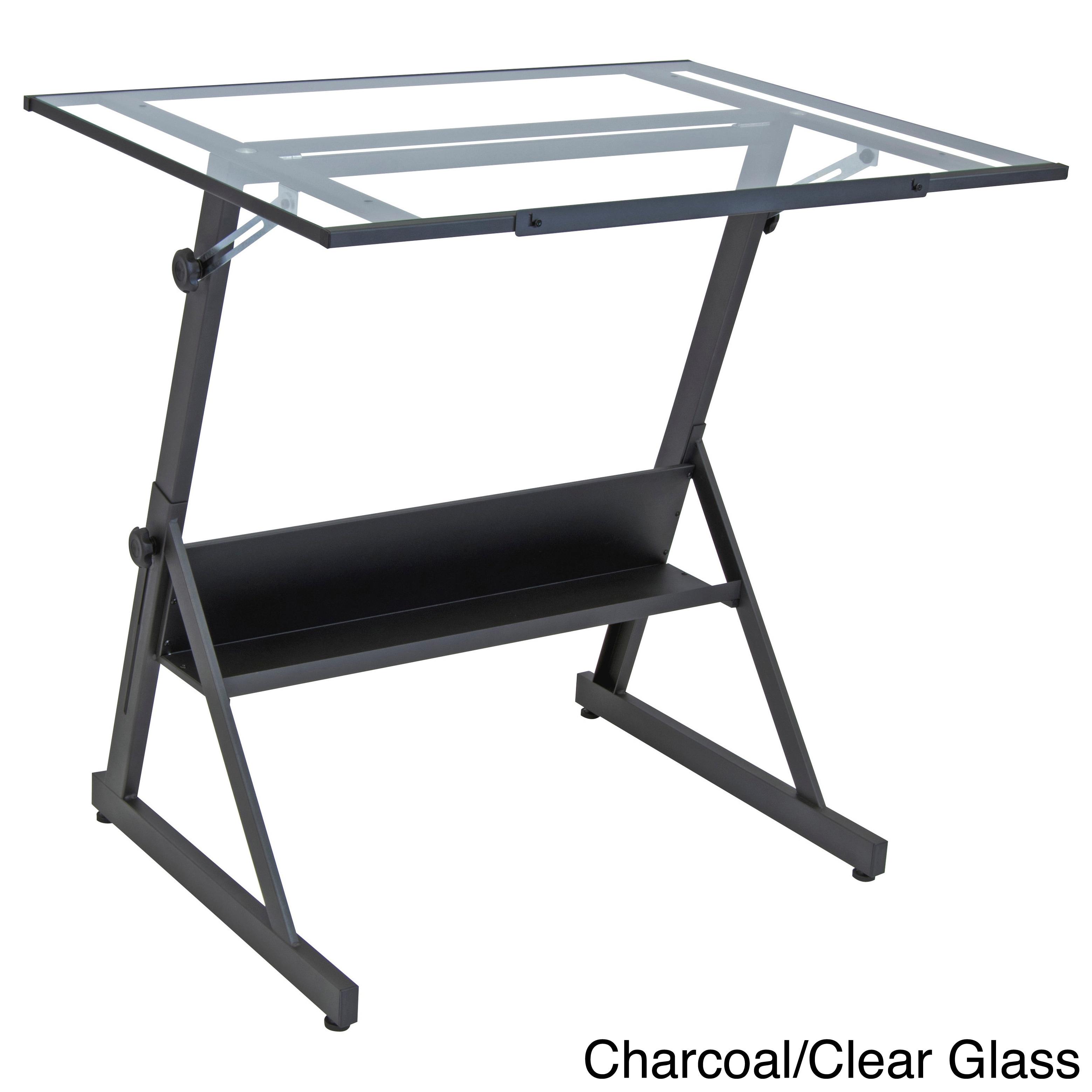 Studio Designs Solano Adjustable Glass Top Drafting Table...