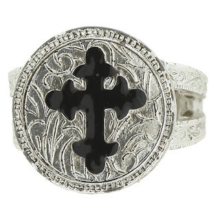The Vatican Library Collection Silver Overlay Base Metal Black Enamel Cross Ring