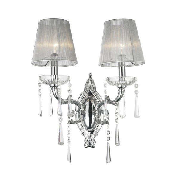 Palatial High Gloss Chrome Finish 2-light Crystal Wall Sconce Light with-light Grey String Shade