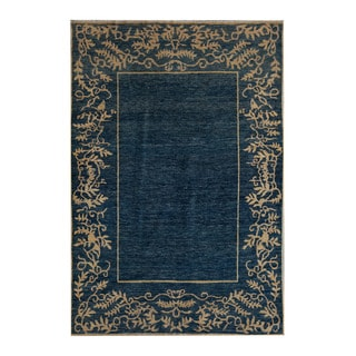Herat Oriental Afghan Hand-Knotted Tribal Vegetable Dye Gabbeh Blue/ Gold Wool Rug (5'8 x 8'3)
