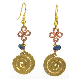 Handcrafted Copper, Brass, and Agate Earrings with Brass Swirl (Kenya)