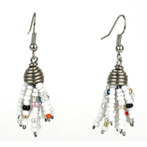 Handmade White Maasai Beaded Spike Earrings (Kenya)