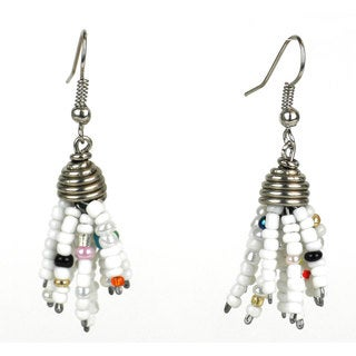 Handmade White Maasai Beaded Spike Earrings (Kenya)