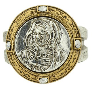 The Vatican Library Collection 14k Yellow Gold and Silvertone Base Metal Mary Stretch Ring