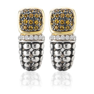 Avanti Palladium Silver 18k Yellow Gold Citrine and White Sapphire Earrings