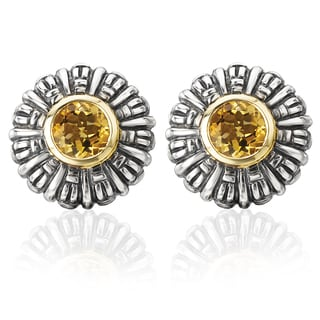 Avanti Palladium Silver 18k Yellow Gold Citrine Floral Earrings