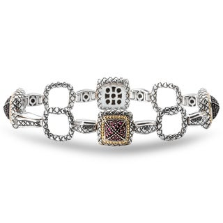 Avanti Palladium Silver 18k Yellow Gold Ruby Cushion Link Bracelet