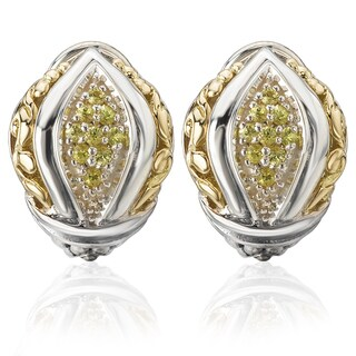 Avanti Palladium Silver 18k Yellow Gold Yellow Sapphire Earrings