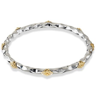 Avanti Palladium Silver 18k Yellow Gold Two-tone White Sapphire Bangle
