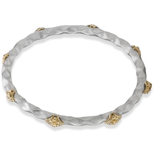 Avanti Palladium Silver 18k Yellow Gold Satin Finish White Sapphire Bangle