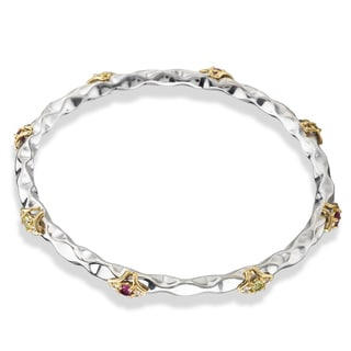 Avanti Palladium Silver 18k Yellow Gold Rhodolite Peridot and White Sapphire Bangle
