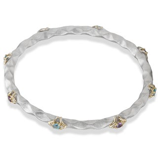 Avanti Palladium Silver 18k Yellow Gold Amethyst Blue Topaz and White Sapphire Bangle