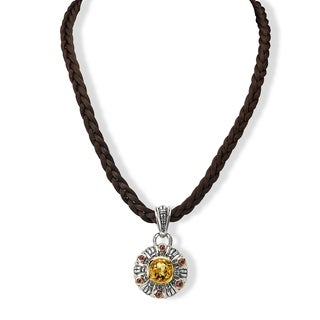 Avanti Palladium Silver 18k Yellow Gold Citrine and Rhodolite Satin Cord Necklace