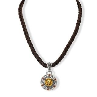 Avanti Palladium Silver 18k Yellow Gold Citrine and Rhodolite Satin Cord Necklace