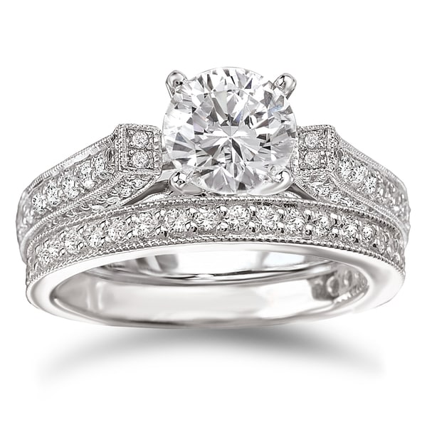 Avanti Rhodium Plated Sterling Silver Cubic Zirconia Round Vintage Style Bridal Ring Set