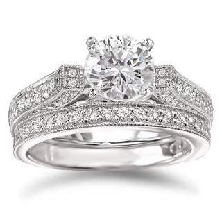 Avanti Rhodium-plated Sterling Silver Cubic Zirconia Round Vintage-style Bridal Ring Set