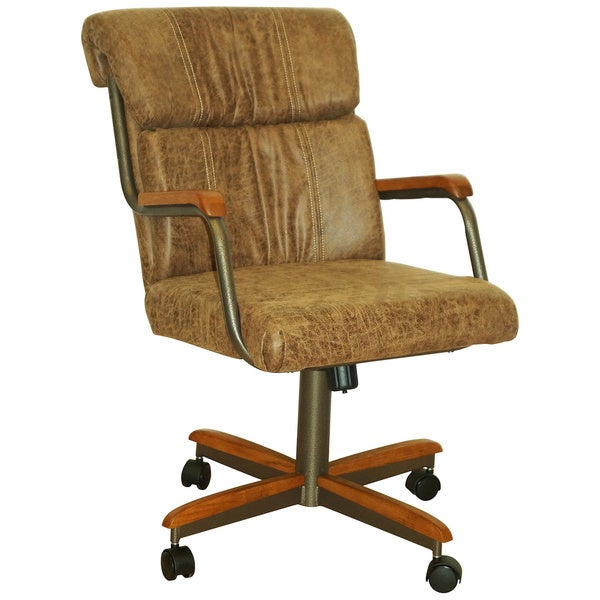 Shop Casual Dining Brown Cushion Swivel And Tilt Rolling: Casual Dining Swivel And Tilt Rolling Dining Chair