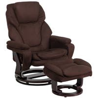 Clay Alder Home Mackinac Contemporary Recliner and Ottoman with Swiveling Mahogany Wood Base