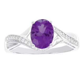 H Star 14k White Gold 1/8ct TDW Diamond and Amethyst Ring (H-I, I1-I2)