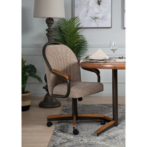 """Casual Dining Barell Swivel and Tilt Rolling Dining Chair - 38""""Hx24""""Wx22""""D"""
