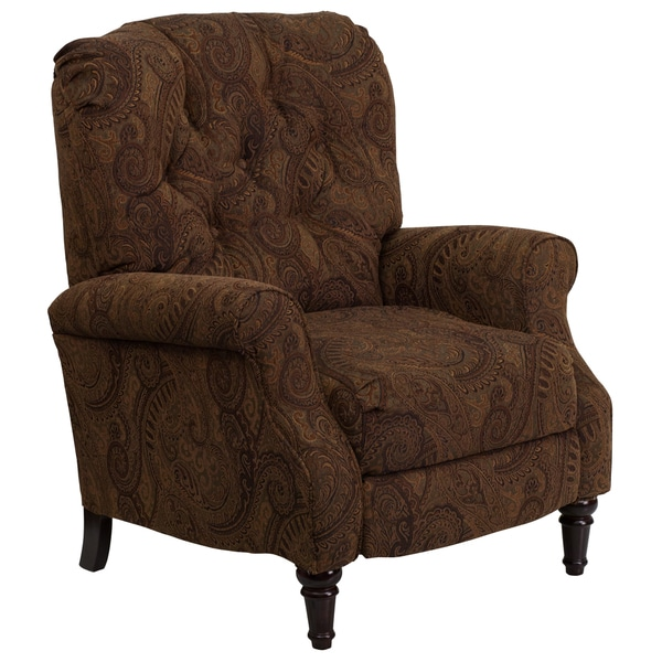 Traditional Tufted Tobacco Brown Paisley Upholstered Hi-leg Recliner
