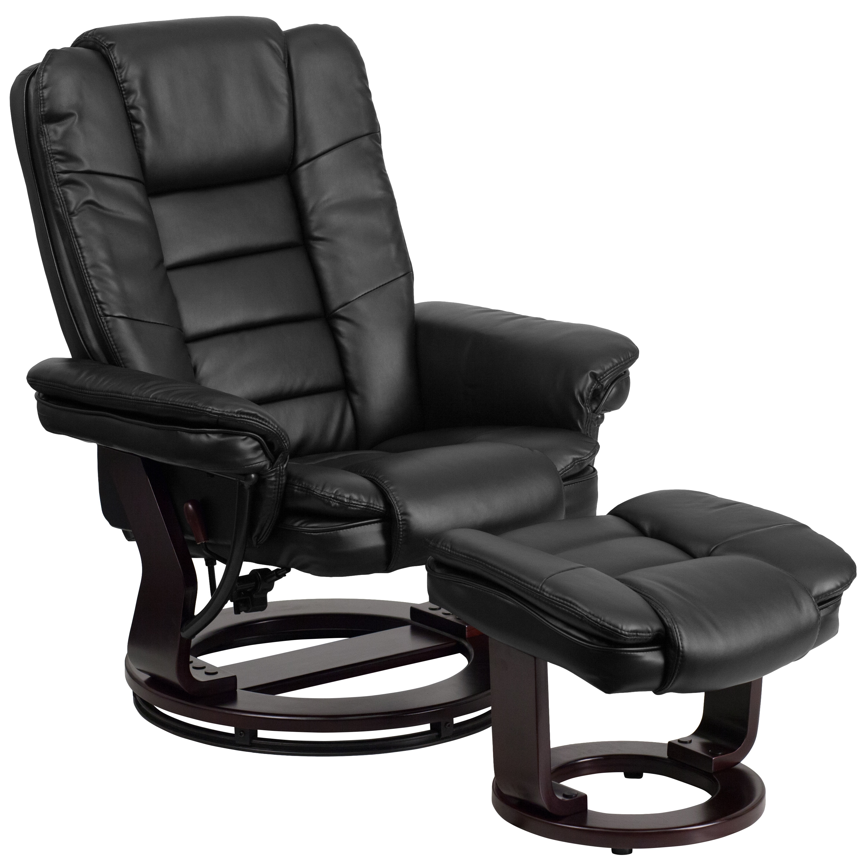 Clay Alder Home Mackinac Contemporary Leather Recliner And Ottoman With  Swiveling Mahogany Wood Base (Option