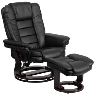 Contemporary Leather Recliner and Ottoman with Swiveling Mahogany Wood Base|//ak1  sc 1 st  Overstock.com & Recliner Chairs u0026 Rocking Recliners - Shop The Best Deals for Nov ... islam-shia.org