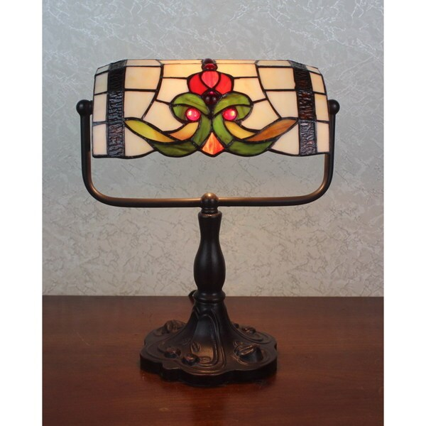 Lila 1 Light Tiffany Style Bunker Accent Lamp 12 Inch