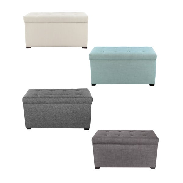 Angela Fabric 8-button-tufted Storage Bench