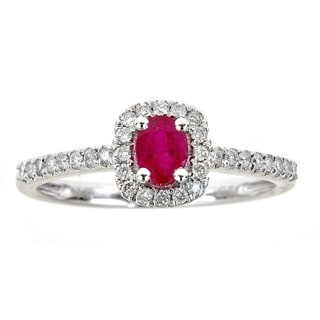 Anika and August 14k White Gold 1/4ct TDW Diamond and Ruby Ring (G-H, I1-I2)