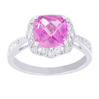 H Star 14k White Gold Created Pink Sapphire and Diamond Accent Vintage Ring