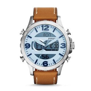 Fossil Men's Nate Analog-Digital Multi-Function Brown Leather Watch JR1492