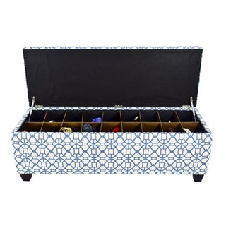 The Sole Secret Noah Midnight Button Tufted Shoe Storage Bench