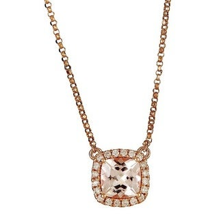 Anika and August 14k Rose Gold 1/6ct TDW Diamond and Morganite Necklace (G-H, I1-I2)