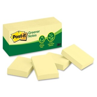 "Post-it Canary 1.5"" x 2"" Adhesive Notes - 12 Pads"