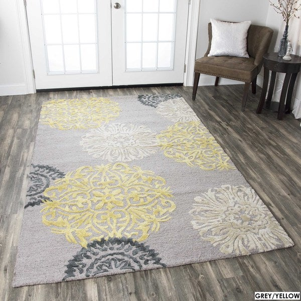 Hand-tufted Floral Wool Grey/ Navy/ Yellow Rug (5' X 8