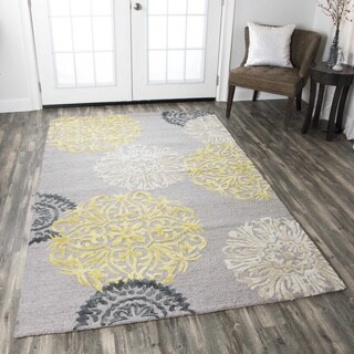 Hand-tufted Floral Wool Grey/ Navy/ Yellow Rug (5' x 8') - 5' x 8'