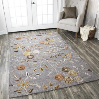 Hand-tufted Floral Wool White/ Red/ Grey Rug - 3' x 5'