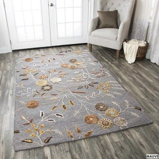 Hand-tufted Floral Wool White/ Red/ Grey Rug (8' x 10')