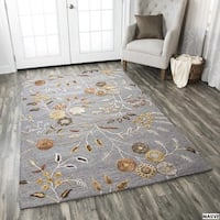Hand-tufted Floral Wool White/ Red/ Grey Rug - 8' x 10'
