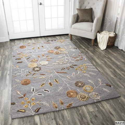 Hand-tufted Floral Wool White/ Red/ Grey Rug (9' x 12')