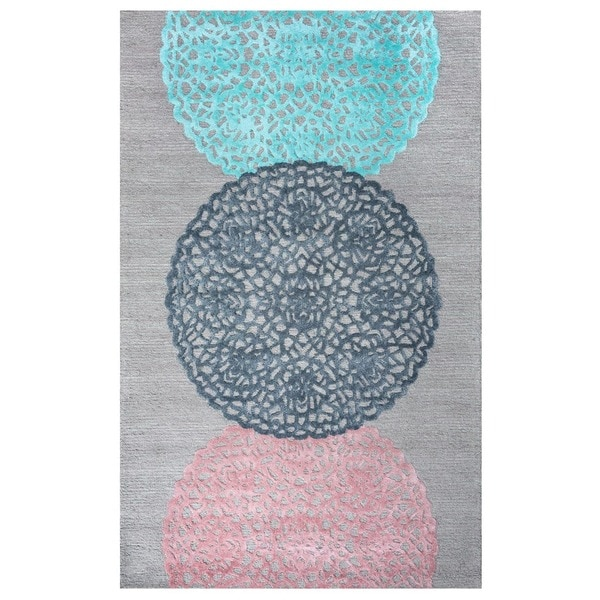 Shop Hand Tufted Trellis Wool Grey Pink Rust Rug 3 X