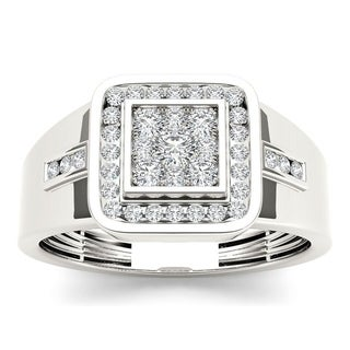 De Couer 10k White Gold 1/2ct TDW Diamond Men's Ring - White H-I