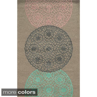 Hand-tufted Trellis Wool Grey/ Pink/ Rust Rug (8' x 10')