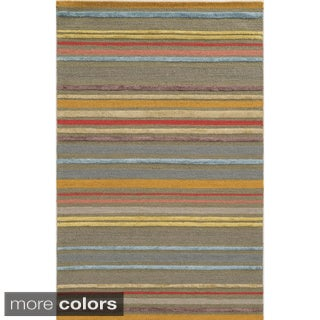 Hand-tufted Stripe Wool Pink/ Beige Rug (3' x 5')