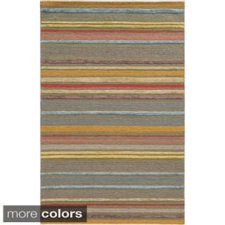 Hand-tufted Stripe Wool Pink/ Beige Rug (8' x 10')