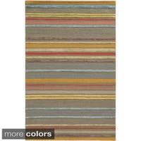 Hand-tufted Stripe Wool Pink/ Beige Rug - 8' x 10'
