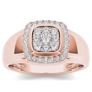 De Couer IGI Certified 10k Rose Gold 1/2ct TDW Diamond Men's Ring - Pink