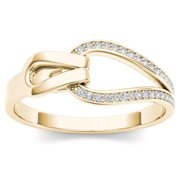 De Couer 10k Yellow Gold 1/10ct TDW Diamond Fashion Ring