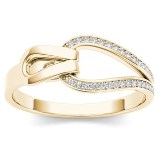 De Couer 10k Yellow Gold 1/10ct TDW Diamond Fashion Ring
